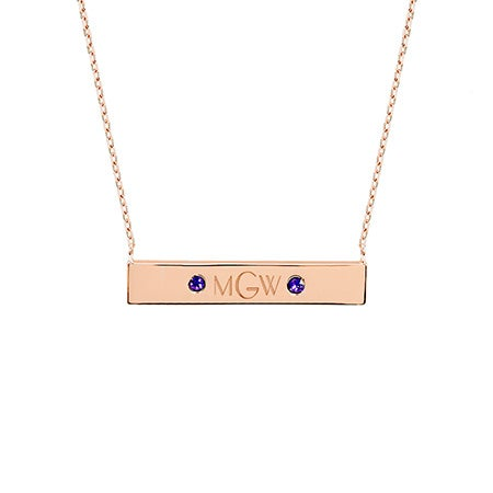 Monogram Birthstone Rose Gold Name Bar Necklace
