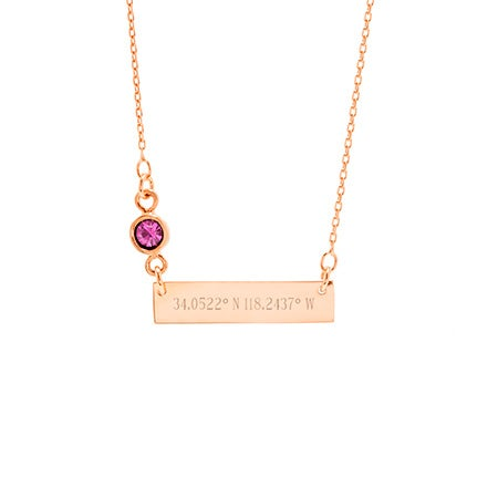 Custom Coordinate Bezel Set Birthstone Rose Gold Bar Necklace