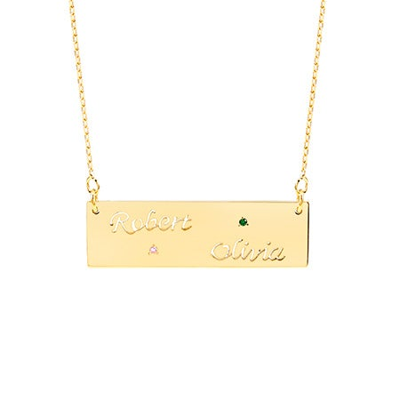 Custom Two Cut-Out Name Birthstone Gold Bar Necklace