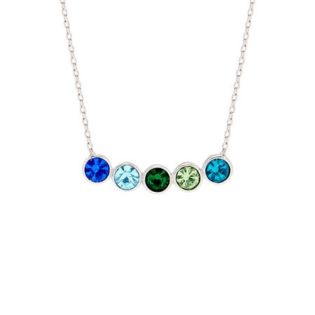5 Stone Birthstone Bezel Set Silver Necklace