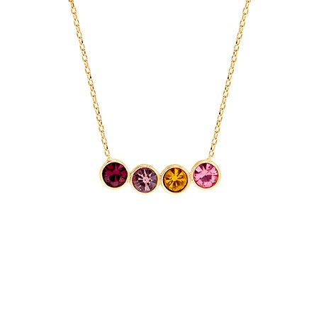Custom 4 Birthstone Bezel Set Gold Necklace