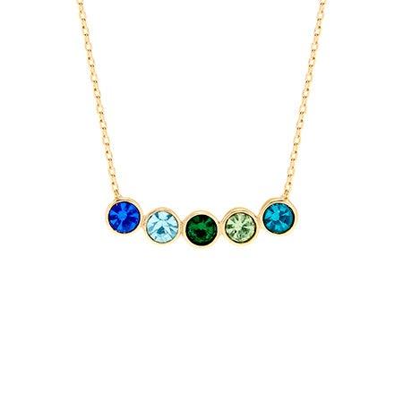 5 Stone Birthstone Bezel Set Gold Necklace