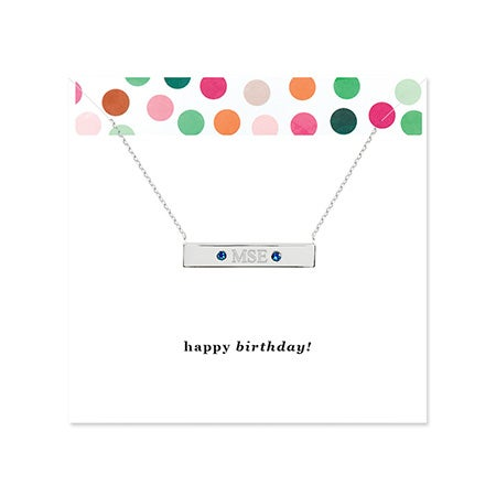 Happy Birthday Monogram Birthstone Silver Name Bar Necklace