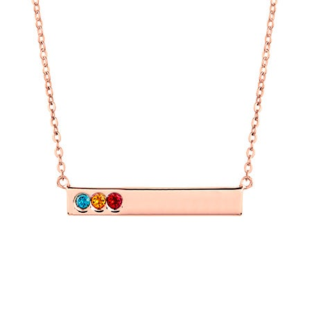 3 Birthstone Rose Gold Name Bar Necklace