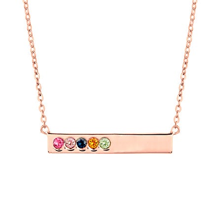 5 Birthstone Rose Gold Name Bar Necklace