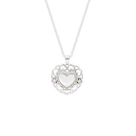 2 Stone Birthstone Filigree Heart Necklace