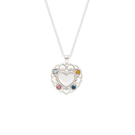 4 Birthstone Filigree Heart Necklace