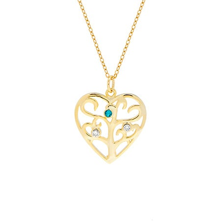 Custom 3 Birthstone Heart Family Tree Gold Necklace