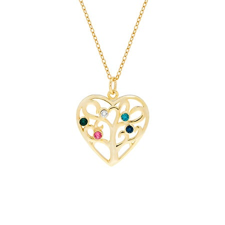 5 Birthstone Heart Family Tree Gold Necklace