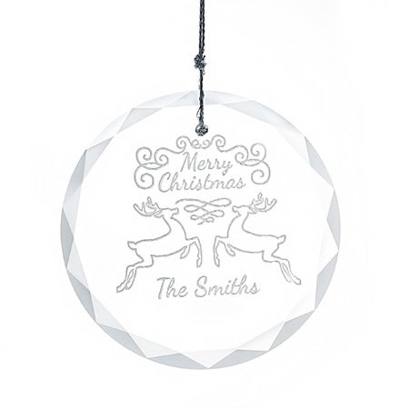 Personalized Reindeer Round Glass Ornament