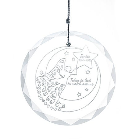 Personalized Memorial Angel Round Glass Ornament