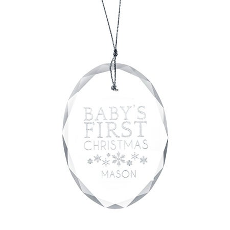Personalized Baby's First Christmas Oval Glass Ornament