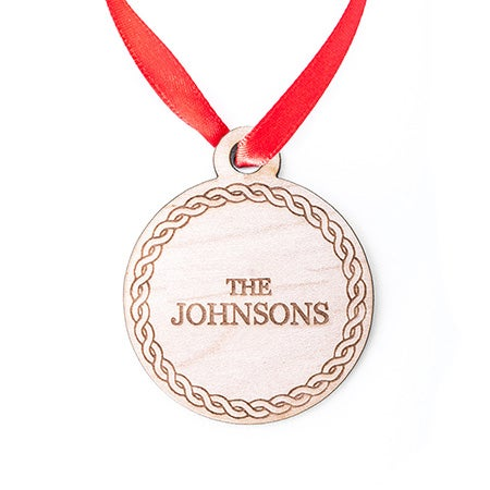 Personalized Christmas Vine Circle Wood Ornament