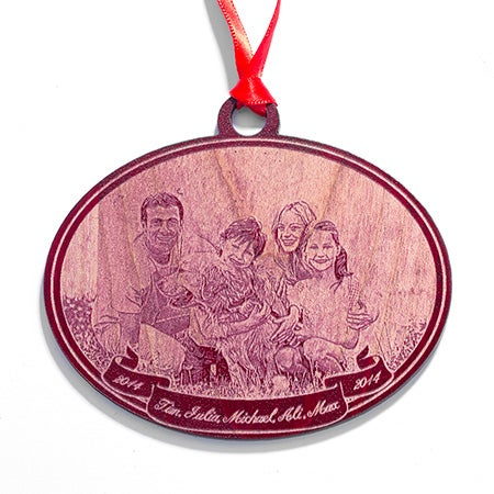 Custom Photo Red Maple Wood Carved Holiday Ornament