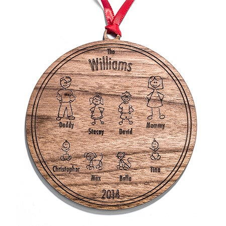Custom Stick Figure Family Wood Ornament | Eve's Addiction®