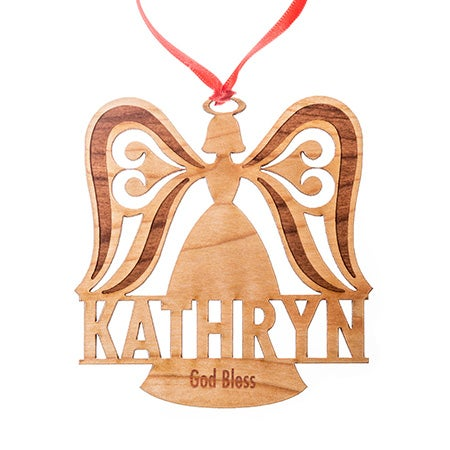 Custom Angel Wood Christmas Ornament