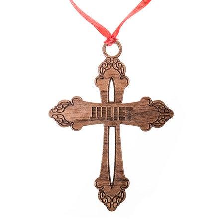 Custom Ornate Cross Wood Ornament