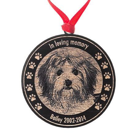Custom Pet Memorial Photo Black Maple Wood Ornament