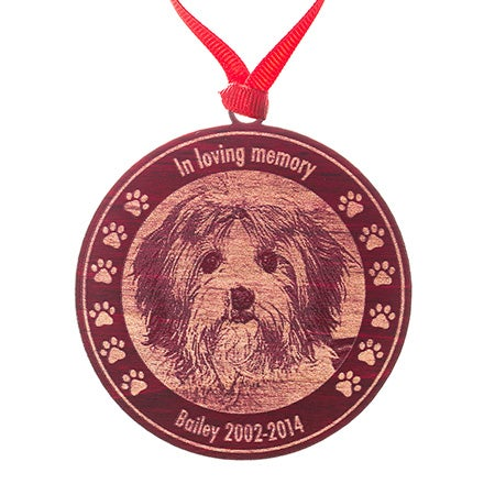Custom Pet Memorial Photo Red Maple Wood Ornament