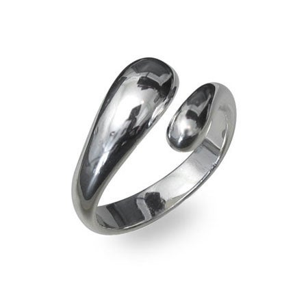 Designer Style Elongated Teardrop Sterling Silver Ring |
