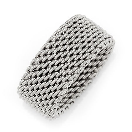 Designer Style Sterling Silver Mesh Ring | Eve's Addiction®