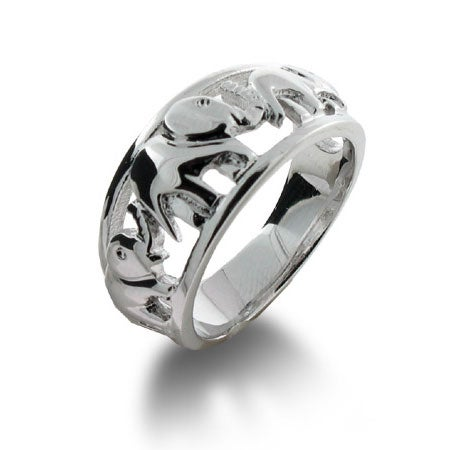 Elephants on Parade Sterling Silver Ring | Eve's Addiction®