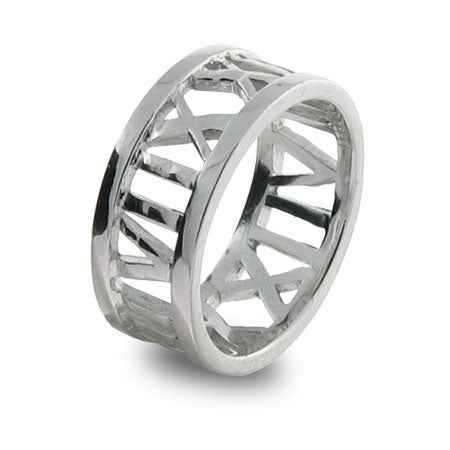 Designer Style Roman Numeral Open Sterling Silver Ring | Eve's Addiction®