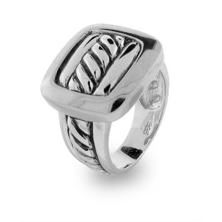 Designer Inspired Sterling Silver Buckle Cable Ring | Eve's Addiction®