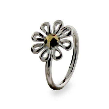 Designer Style Sterling Silver Daisy Ring | Eve's Addiction®
