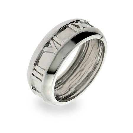 Designer Style Sterling Silver Closed Roman Numeral Ring | Eve's Addiction®