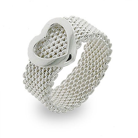 Designer Style Sterling Silver Mesh Heart Ring | Eve's Addiction®