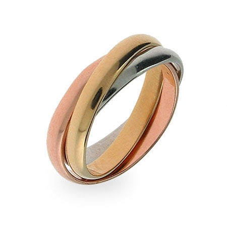 Three Tone Triple Roll Ring | Eve's Addiction®