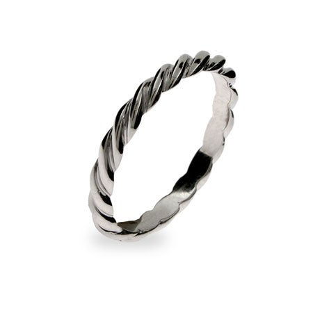 Thin Twisted Stackable Sterling Silver Ring | Eve's Addiction®