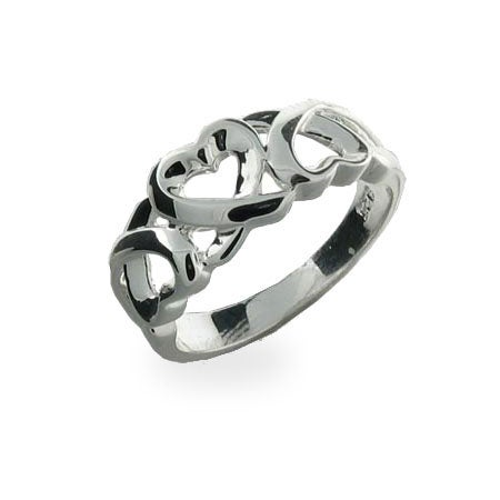 Sterling Silver Triple Hearts Ring | Eve's Addiction®