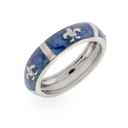 Designer Inspired Sterling Silver Fleur De Lis Blue Enamel Ring | Eve's Addiction®