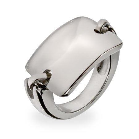 Rectangle Bar Engraved Stainless Steel ID Saddle Ring | Eve's Addiction®