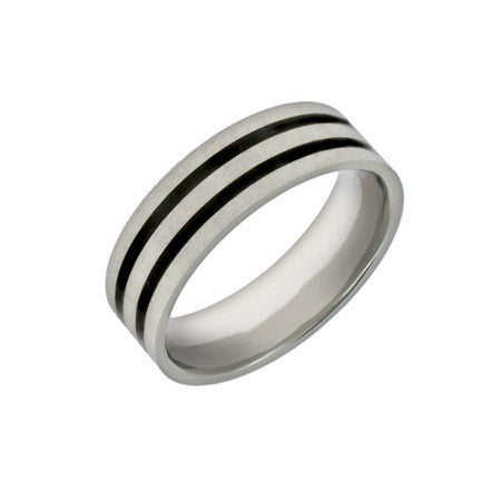 Engravable Promise Ring for Men with Double Black Inlay | Eve's Addiction®