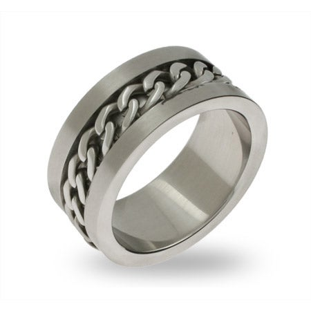 Men's Stainless Steel Chain Link Ring | Eve's Addiction®