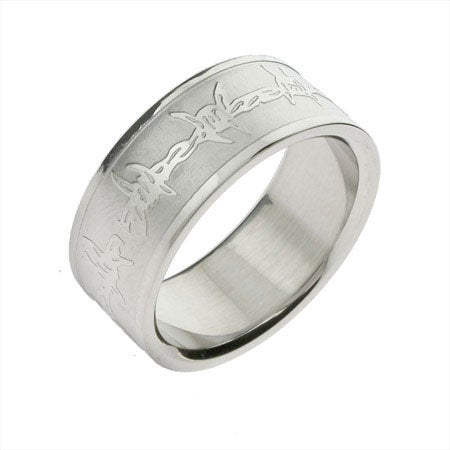 Engravable Men's Stainless Steel Barbed Wire Band | Eve's Addiction