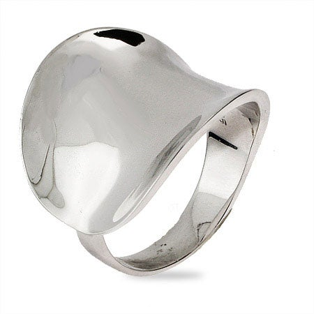 Contemporary Style Wide Concave Ring in Sterling Silver | Eve's Addiction®