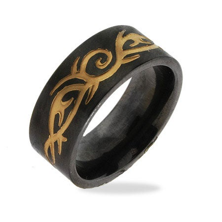 Men's Stainless Steel Black Plate Tribal Design Ring | Eve's Addiction®