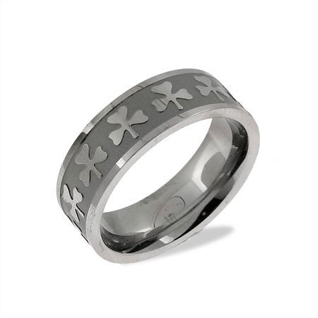 Luck of the Irish Stainless Steel Shamrock Band | Eve's Addiction®