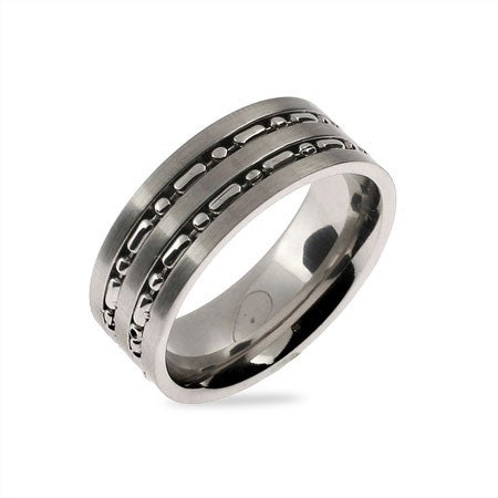 Men's Silver Beaded Double Row Stainless Steel Band | Eve's Addiction®