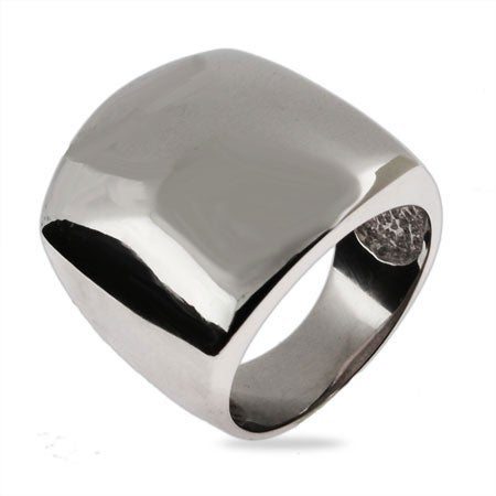 Domed Rectangular Sterling Silver Ring   Eve's Addiction®