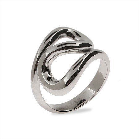 Designer Style Sterling Silver Wave Ring | Eve's Addiction®