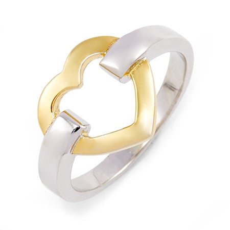 Designer Style Gold Heart Link Sterling Silver Ring | Eve's Addiction®