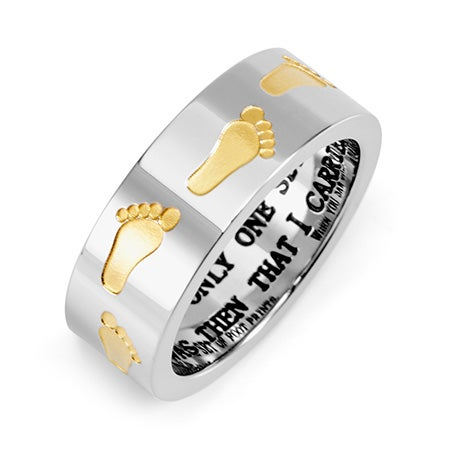 Golden Footprints in the Sand Stainless Steel Ring | Eve's Addiction®