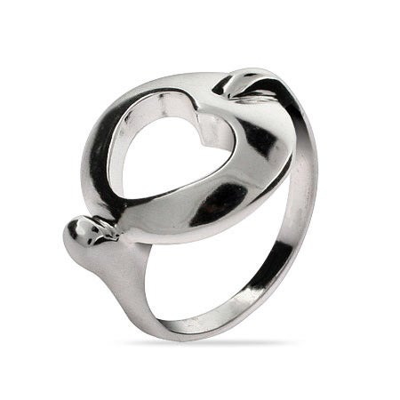 Designer Style Sterling Silver Stencil Heart Ring | Eve's Addiction®