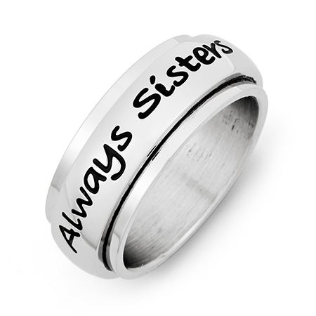 Always Sisters Forever Friends Stainless Steel Ring | Eve's Addiction®