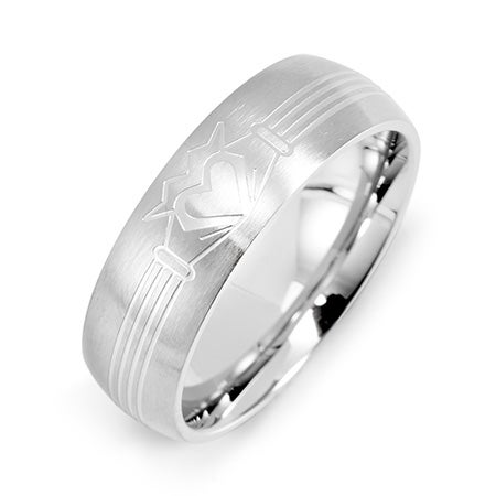 Men's Stainless Steel Claddagh Message Band | Eve's Addiction®